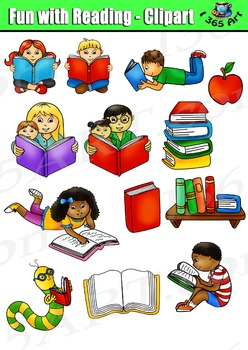 Reading Clipart Set, Reading Fun Kids