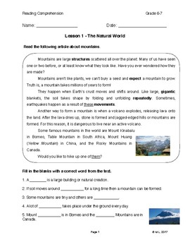 Reading G6-7 Lesson 1 Natural World: Mountains
