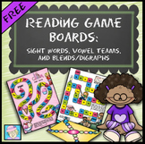 Reading Game Boards FREE Sight Words, Vowel Teams Centers, Blends, Digraphs