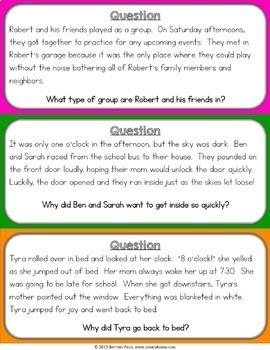Reading Comprehension Passages & Questions {Inference, Cause & Effect, Sequence