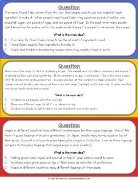 Reading Comprehension Passages & Questions {Theme, Main Idea, Summarizing}