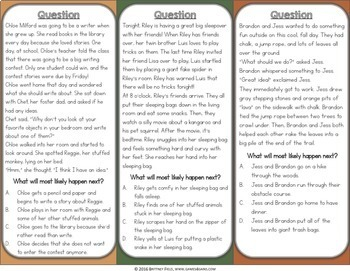 Reading Comprehension Passages & Questions {Genre, Story Elements, Predictions}