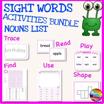 SIGHT WORDS Activities BUNDLE Multi-Level NOUN LIST Flash Cards Games Activities