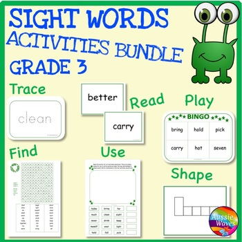 SIGHT WORDS Activities BUNDLE Level 3 flash Cards, Reading Games and Activities