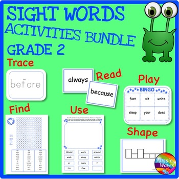SIGHT WORDS BUNDLE GRADE 2 Printable Activities for Centers and Word Work