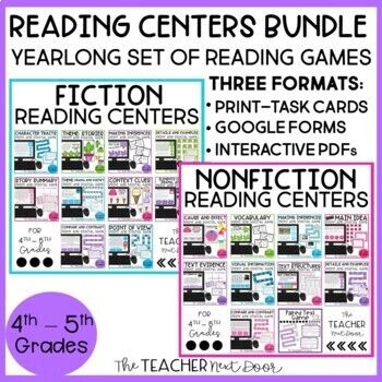 Reading Games: Fiction and Nonfiction Bundle for 4th/5th Grade   Reading Centers