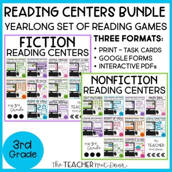 Reading Games: Fiction and Nonfiction Bundle | Reading Centers for 3rd Grade
