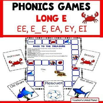 Reading Games -Long E words Advanced