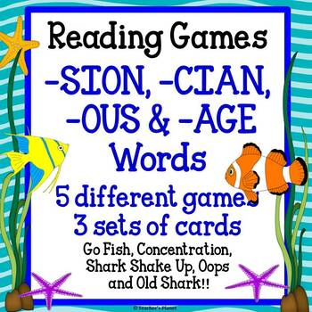 Reading Games -SION,-CION,-OUS, and -AGE Words