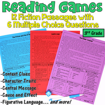 Reading Games for 3rd: 12 Fiction Passages | PDF and Digital | Distance Learning