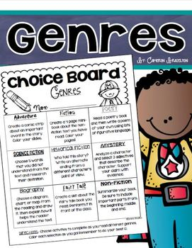 Reading Genre Activities Choice Board Tic Tac Toe