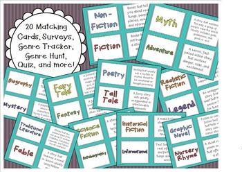 Reading Genre Activities (Matching Game, Surveys, Quiz, Book Review)
