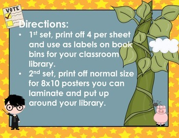 Reading Genre Labels and Posters for the Classroom- Great for Back to School