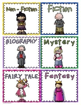 Reading Genre Labels for Book Bins or Classroom Library