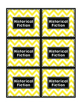Reading Genre Chevron Library Labels