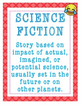 """Reading Literary Genres Library Posters - 8.5""""x11"""" - Ready for Printing"""