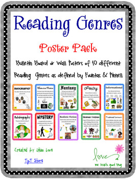 reading genre poster set with definitions by me teach good tpt. Black Bedroom Furniture Sets. Home Design Ideas