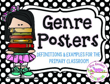 Reading Genre Posters Black and White Polka Dot