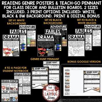 Reading Genre Posters Anchor Charts- Classroom Bulletin Board Decor