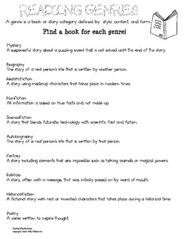Reading Genres Activities and Games