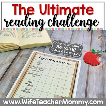 Editable Reading Challenge, Reading Logs, Book Tracker, Bookmarks