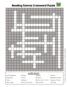 Reading Genres Crossword Puzzle