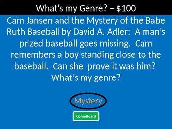 Reading Genres Jeopardy Style Game Show