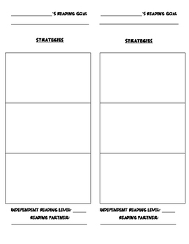 Student Reading Goal and Strategies- Bookmark