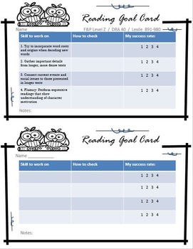 Reading Goal Cards for Grades 3-5 - Student Centered Reading Level Setting Cards