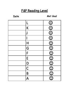 Reading Goal Data Sheet