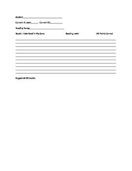 Reading Goal Form