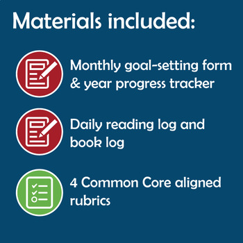 Reading Goal Setting Form, Rubric, & Monthly Tracker for Middle School