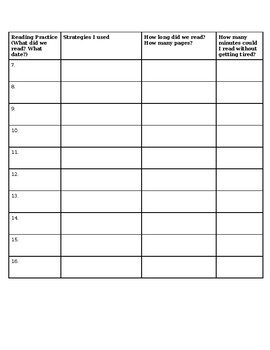 Reading Goal Setting Sheet