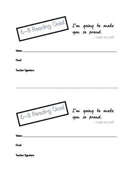 Reading Goal Sheet Grades 6-8