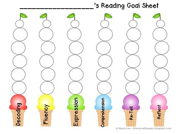 Reading Goal Sheet (Ice Cream Themed)