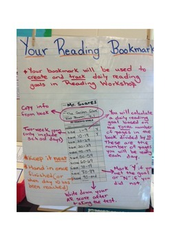 Reading Goals Bookmark Anchor Chart