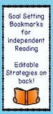 Reading Goals Bookmark, Independent Reading, Editable