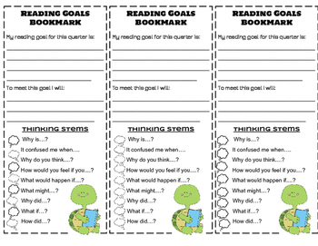 Reading Goals Bookmark with Comprehension Strategies and Thinking Stems