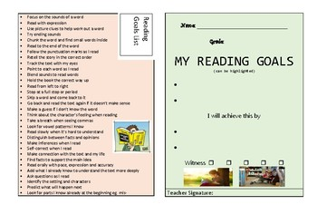 Reading Goals Cards