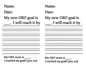 Reading Goals - Oral Reading Fluency