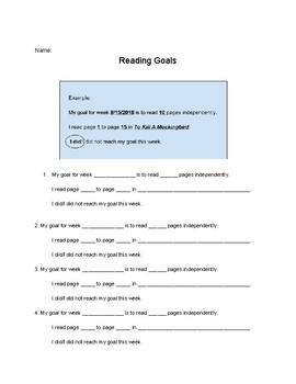 Reading Goals Sheet