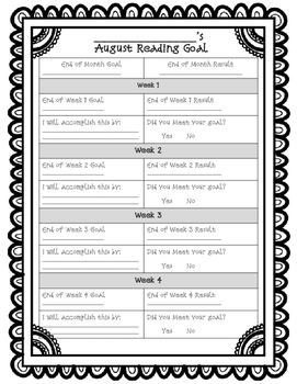 Reading Goals {Weekly and Monthly}
