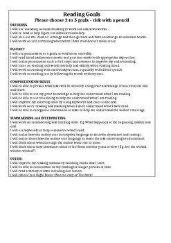 Reading Goals and Fluency Checklist