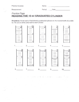 Reading Graduated Cylinders Worksheet #1