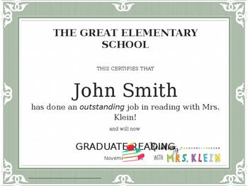 Reading Graduation Certificate