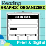 Reading Graphic Organizers   Digital and Printable