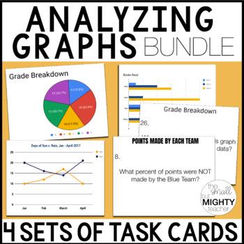 Reading Graphs - 128 task cards (bar, line, circle graphs) BUNDLE