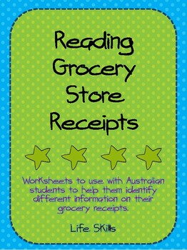 Reading Grocery Receipts Worksheets