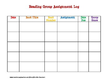 Reading Group Assignment Log