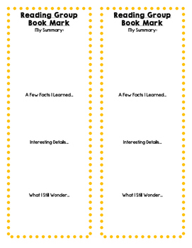 Reading Group Bookmarks